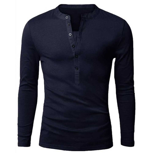 Casual Solid Color Slim Fit Long Sleeve Shirt for Male 9667