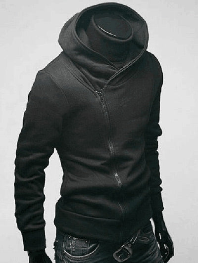 Side Zip Up Long Sleeve Plain Neck Hoodie For Men 7977