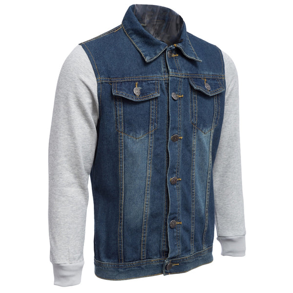 Casual Oversize Denim Patchwork Male Hooded Jacket 8630