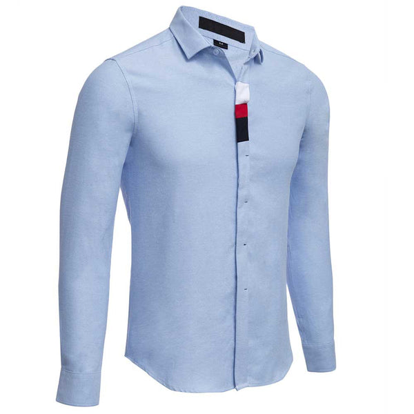 Casual Solid Color Cotton Blends Male Long Sleeve Shirt 9573