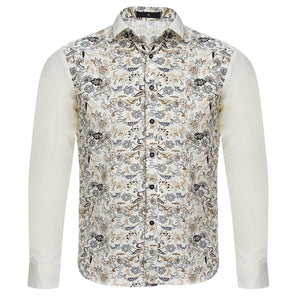 Stylish Floral Print Slim Fit Patchwork Male Long Sleeve Shirt 4418