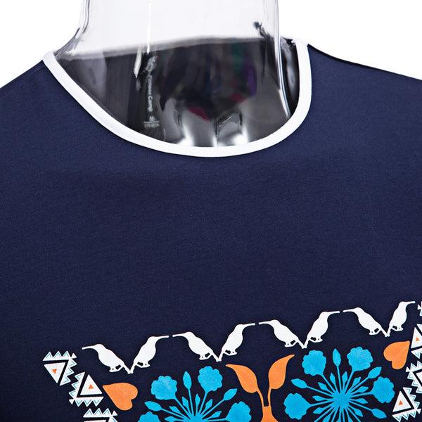Casual Pattern Printed Round Neck Men Short Sleeve Shirt 9430
