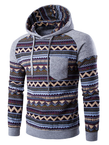 Men's Color Block Tribal Printed Pocket Hooded Raglan Long Sleeves Hoodie