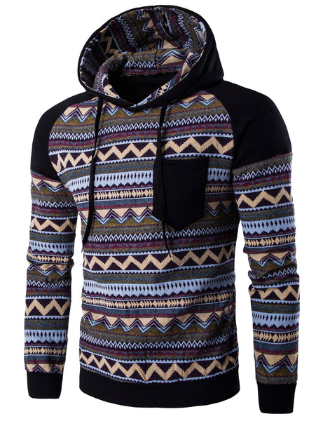 Color Block Tribal Printed Pocket Hooded Raglan Sleeve Hoodie 5060