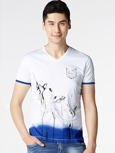 Flower Printed Short Sleeve Vneck T Shirt for Men 9258