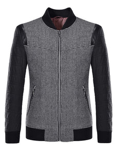 Casual Stand Collar Plaid Outwear Jacket for Man 2932