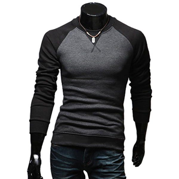 Casual Patchwork Round Neck Male Long Sleeve Shirt 8488