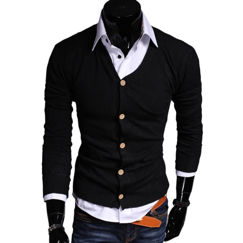 Casual Pure Color V Neck Long Sleeve Male Slim Fit Knitwear 6691