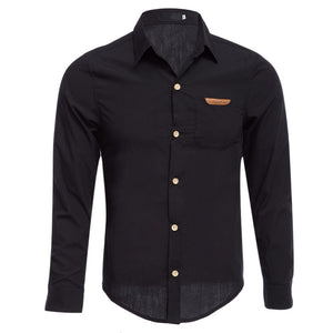 Simple Design Pure Color Male Turn Down Collar Long Sleeve Shirt 2372