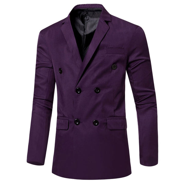 Men's Solid Color Simple Design Pocket Decoration Double-breasted Suit Jacket