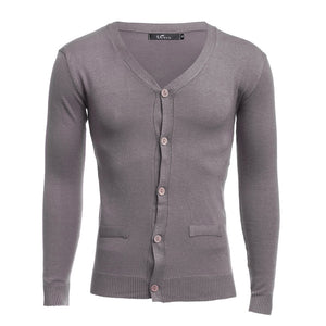 Men's Casual Solid Color V-neck Long Sleeves Slim Fit Knitwear