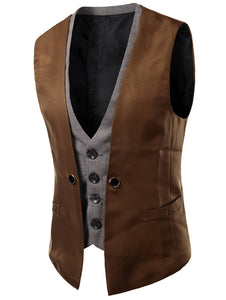 Plaid Insert Buckled Single Breasted Waistcoat 5383