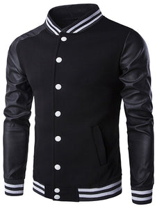 PU-Leather and Stripe Rib Splicing Stand Collar Jacket 1755