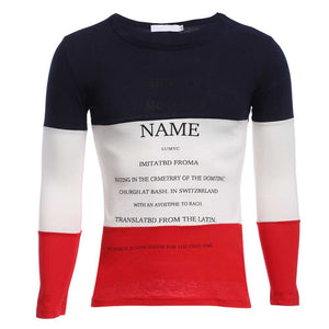Casual Patchwork Letter Print Round Neck Male Long Sleeve Shirt 8080