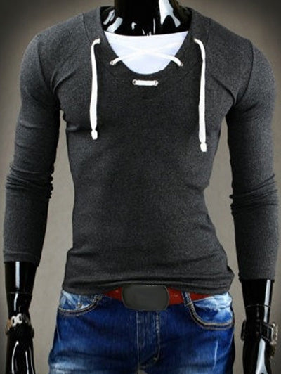 Trendy Slimming V-Neck Drawstring Faux Twinset Long Sleeve Polyester T-Shirt For Men 3100