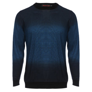 Casual Gradient Round Neck Male Long Sleeve Shirt 2719