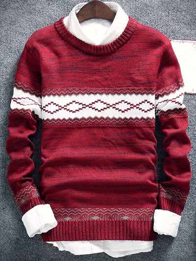 Men's Space Dye Geometric Pattern Crew Neck Sweater