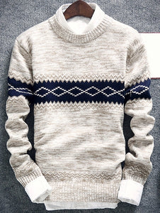 Men's Geometric Pattern Space Dye Crew Neck Sweater