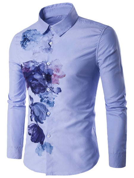 Turndown Collar Florals Wash Painting Print Long Sleeve Shirt 9083