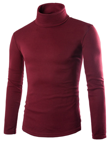 Simple Turtleneck Bottoming Men Long Sleeved T-Shirt 3432