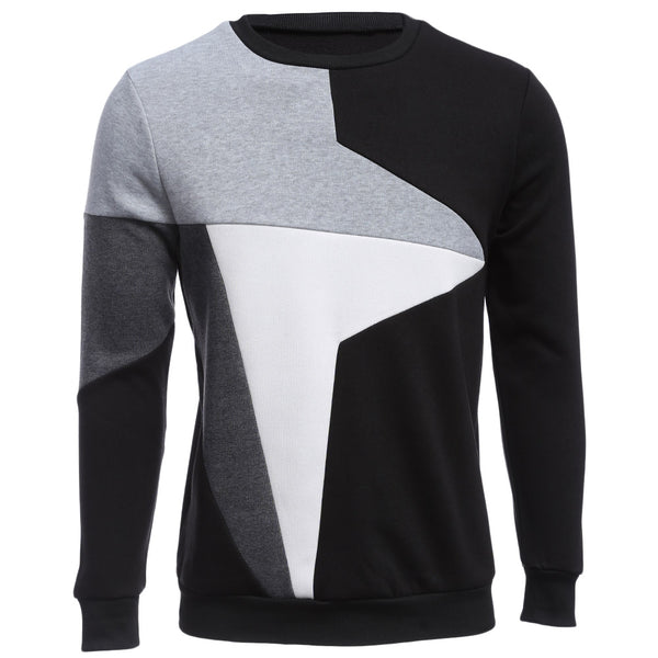 Casual Color Block Long Sleeve Male Pullover Sweater 7118