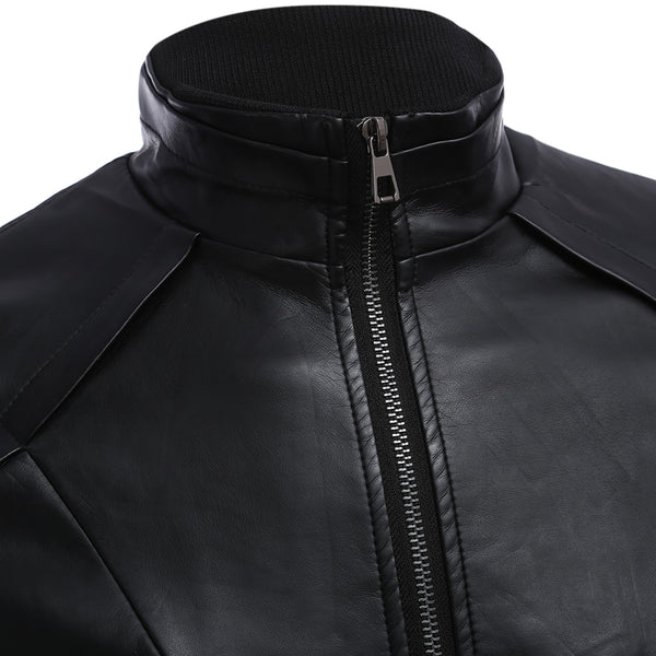 Men's Stylish Zipper Design Stand Collar Warm Slim Fit Leather Coat