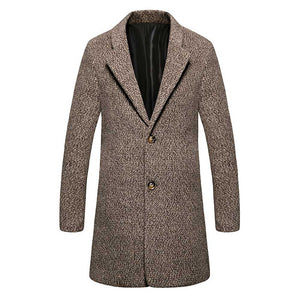 Casual Turn Down Collar Male Woolen Cloth Coat 5298