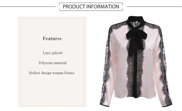 Trendy Bow Tie Decoration Collar Long Sleeve Lace Spliced Hollow Blouse for Ladies 8682