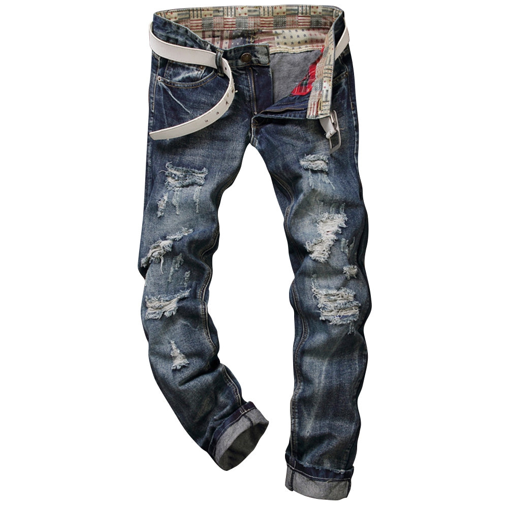 Men's Frayed Zipper Fly Five-pocket Straight Leg Ripped Jeans