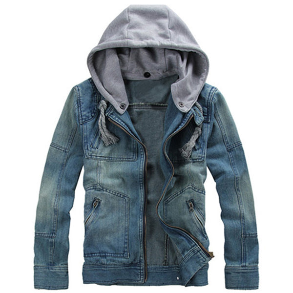 Zippered Removable Hood Denim Jacket 9858