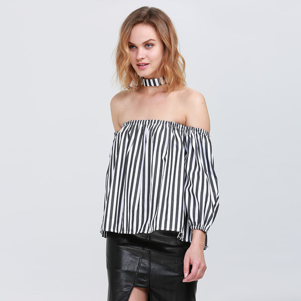 Trendy Cloth Necklace Off The Shoulder Cut Out Lantern Sleeve Women T-shirt 4411