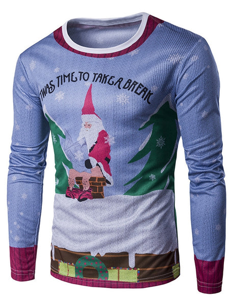 Round Neck Father Christmas Printed 3D Man T-Shirt 2068
