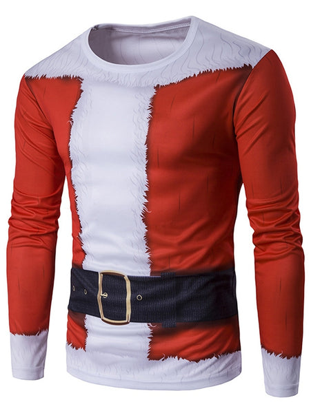 Round Neck 3D Christmas Costume Print Long Sleeve T-Shirt for Men 6252