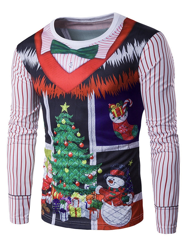 Round Neck 3D Printed Christmas Costume False Two Piece Men T-Shirt 5791