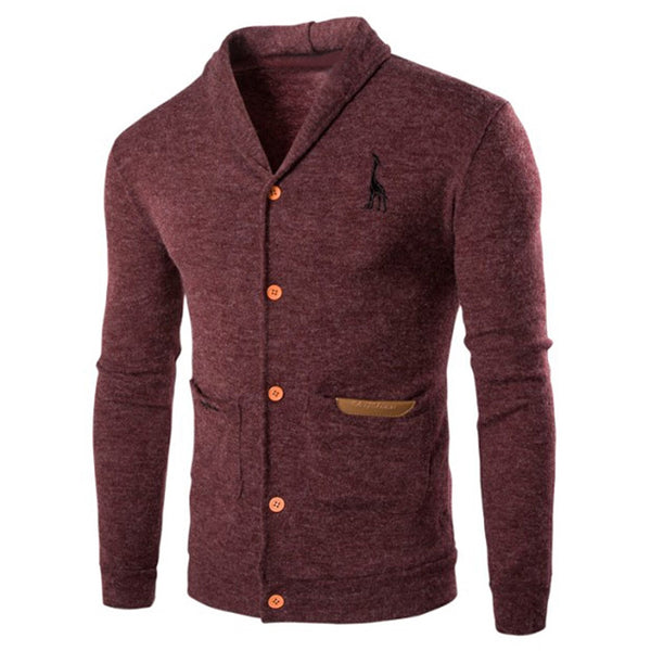 Men's Silim Fit Turn Down Collar Button Up Casual Cardigan