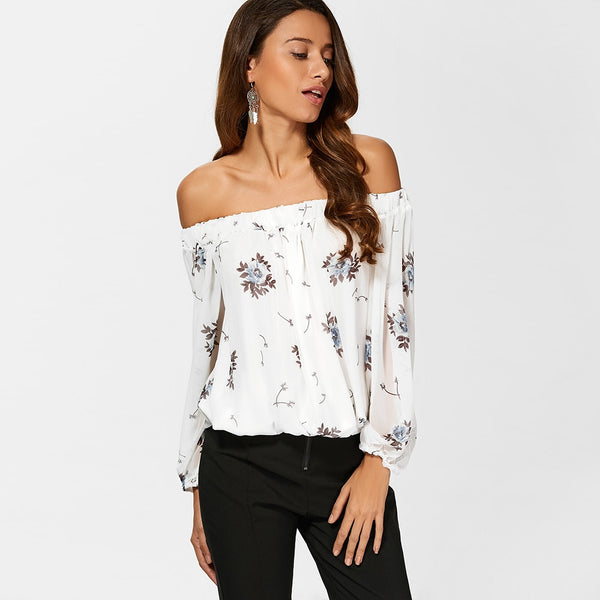 See Through Chiffon Floral Off The Shoulder Blouse 4022
