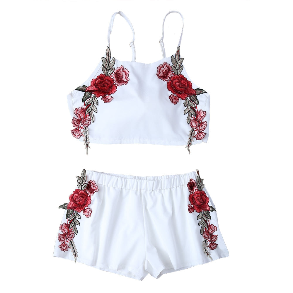Floral Applique Bowknot Top with Shorts 1147