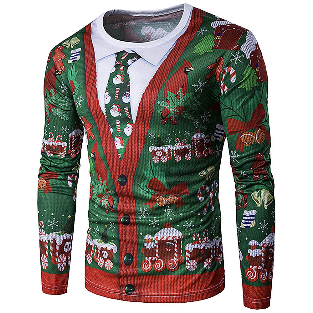 Crewneck 3D Printing Tie Christmas Costume Faux Twinset Men Top T Shirts 2607