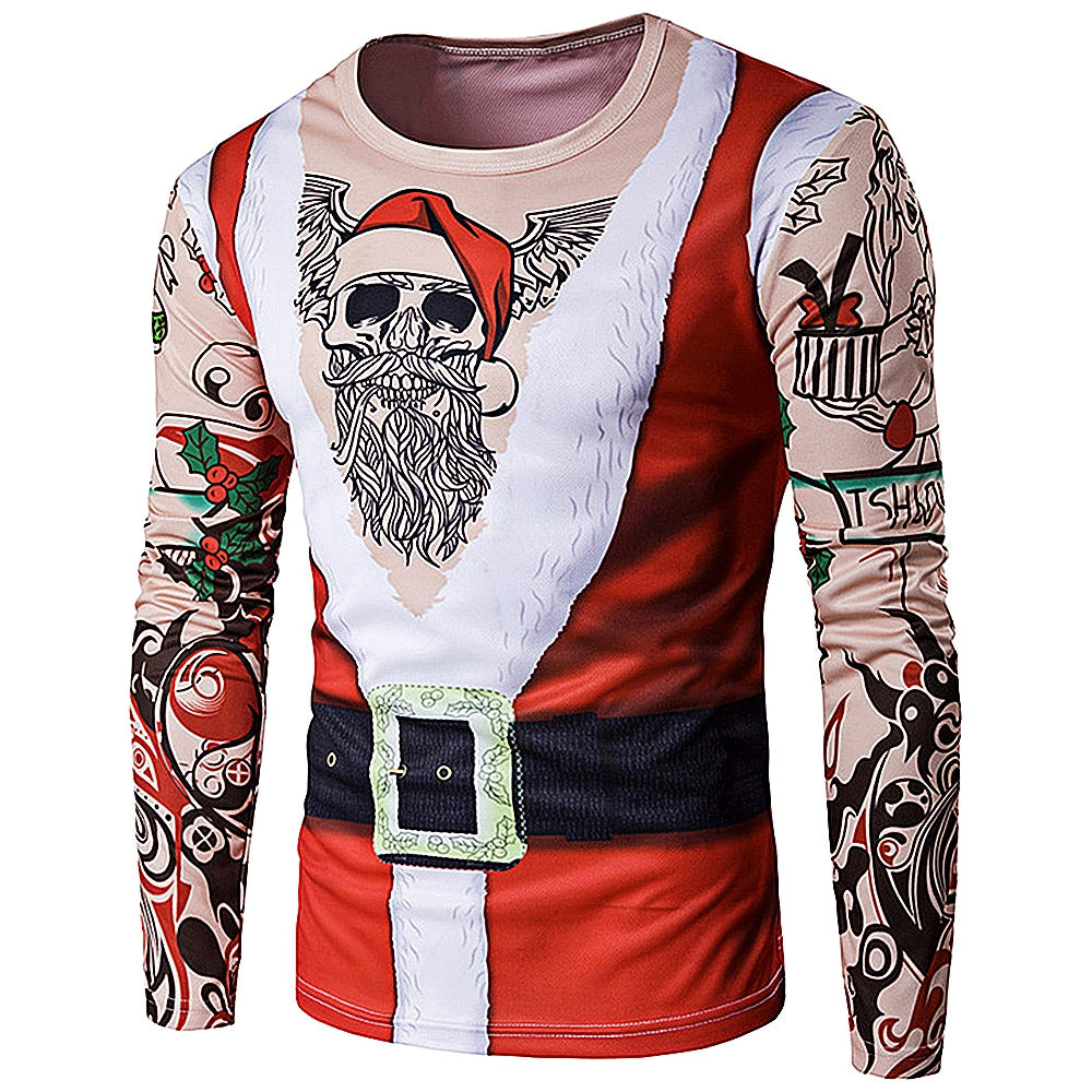 3D Tattoo Printed Christmas Costume for Father Man T-Shirt Autumn 3947