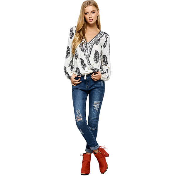 Retro Print Wrap V Neck Blouse 9254