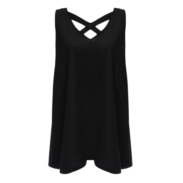 Sexy V-neck Backless Criss-cross Pure Color Vest Dress for Ladies 5858