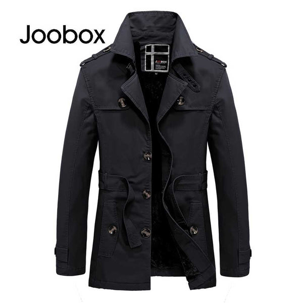 JOOBOX Casual Solid Color Button Decoration Male Belt Coat 7277