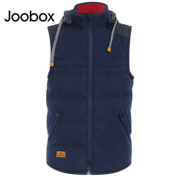 JOOBOX Stylish Color Block Design Zipper Detachable Hat Male Sleeveless Vest 4703