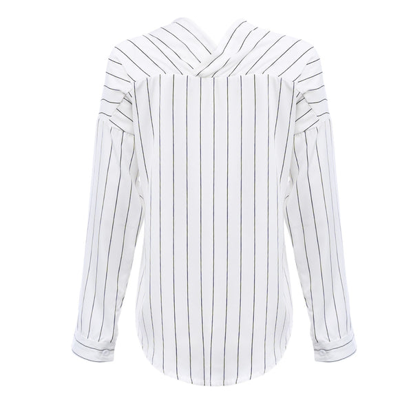 Stylish Long Sleeve V Neck Stripe Women Blouse 2971