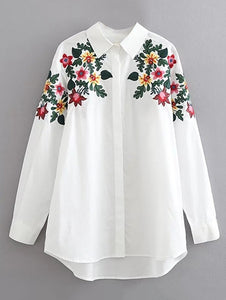 Long Sleeves Floral Embroidered Cotton Shirt 6798
