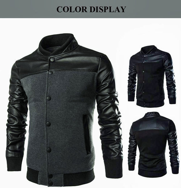 Stylish Patchwork Design Slim Fit Stand Collar Jacket for Male 5118