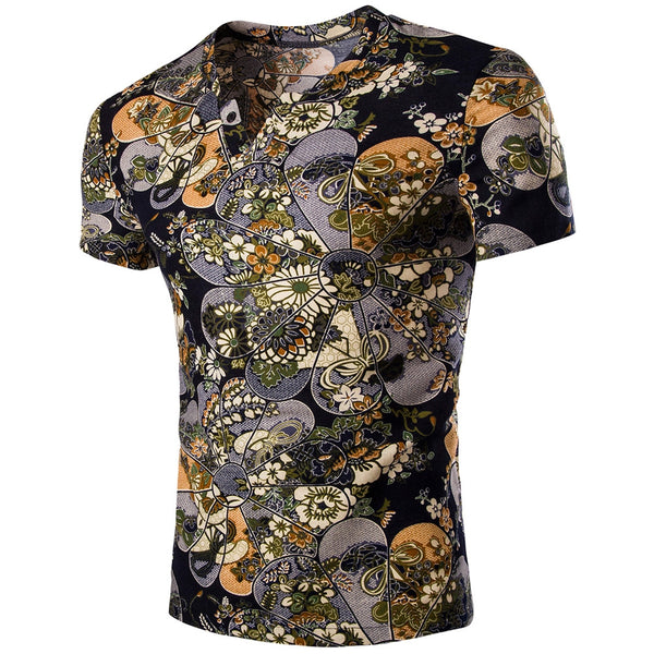 V Neck Flower Print Short Sleeves T-shirt for Men 6518