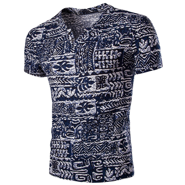 Casual V Neck Abstract Printing Short Sleeves T-Shirt For Men 8981