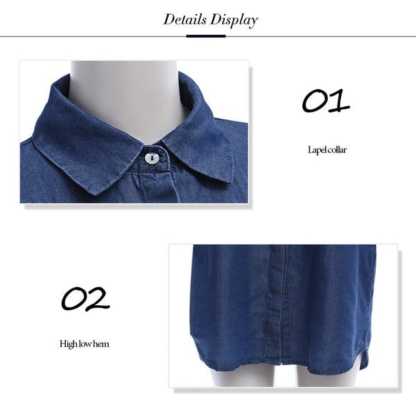 Long Sleeve Floral Embroidery Button Up Denim Women Shirt 1379