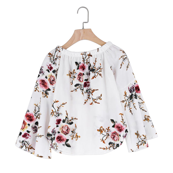 Off The Shoulder Bell Sleeve Floral Print Chiffon Women Blouse 2031